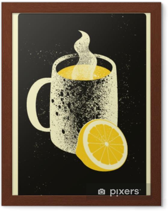 Póster Enmarcado Taza con bebida caliente y limón. Cartel de estilo vintage grunge tipográfico té caliente. ilustración vectorial retro - Bebida