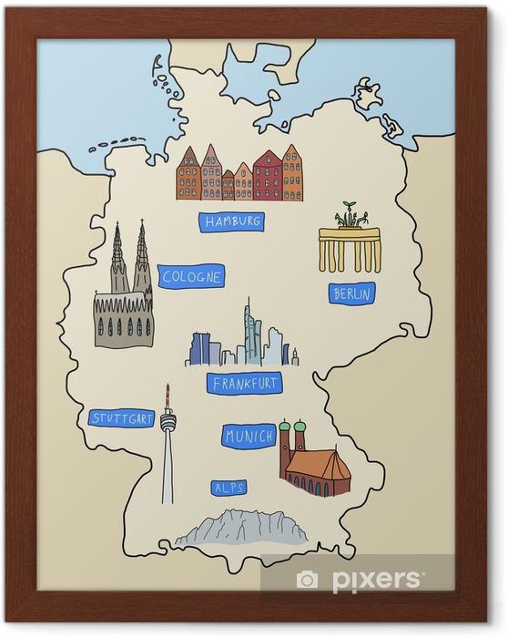 Saksa Kartta Doodle Kuva Kehystetty Juliste Pixers Elamme