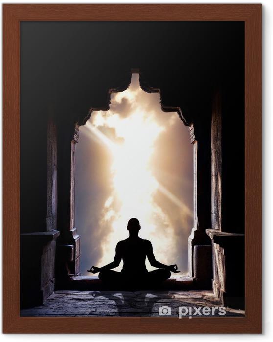 Ingelijste Poster Yoga meditatie in tempel - Gezondheid
