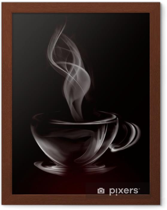 Poster en cadre Artistique Coupe de fumée Illustration de café sur fond noir -