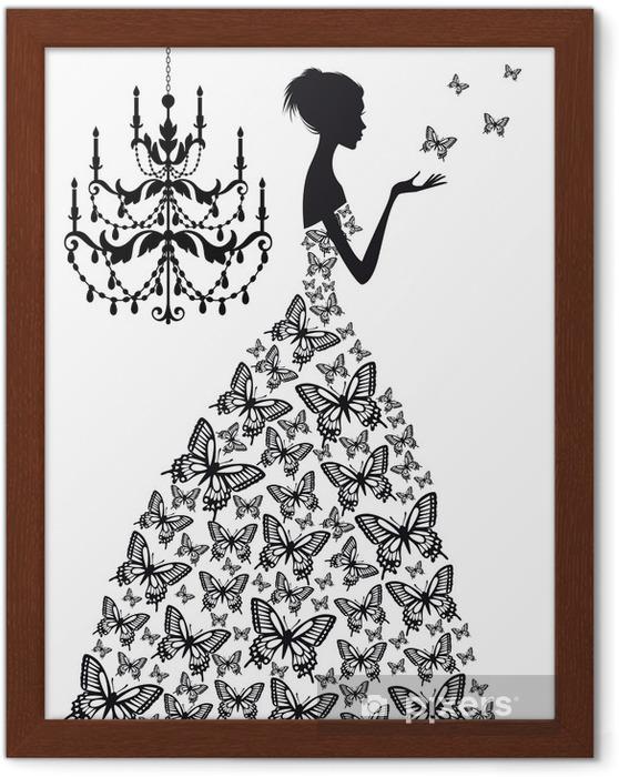 Poster i Ram Kvinna med fjärilar, vektor - Mode