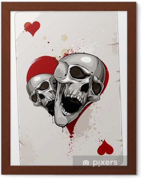 Plakat w ramie Poker karty z czaszkami - Abstrakcja