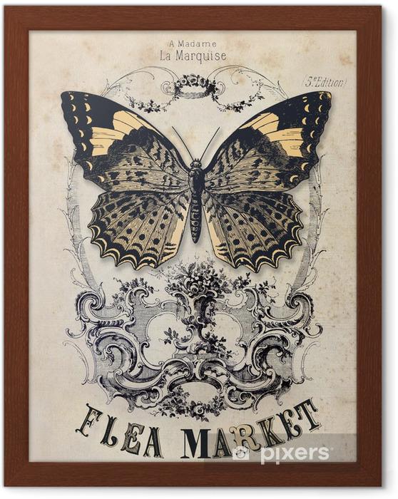Ingelijste Poster Rommelmarkt vintage achtergrond -