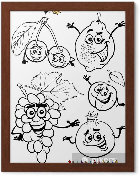 Karikatür Meyve Boyama Kitabı Için Belirlenen çerçeveli Poster