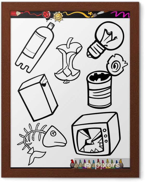 çerçeveli Poster Karikatür çöp Boyama Nesneleri