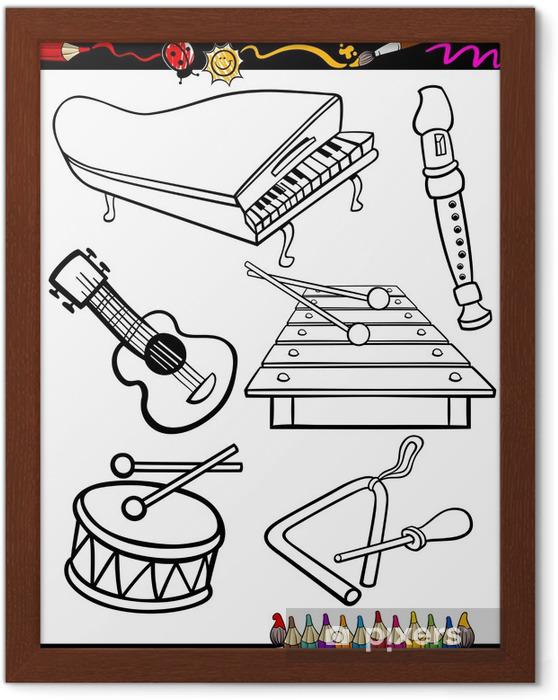 Karikatür Müzik Aletleri Boyama çerçeveli Poster Pixers Haydi