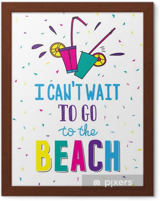 Poster en cadre Affiche d'été tirée par la main en citant - Passe-temps et loisirs