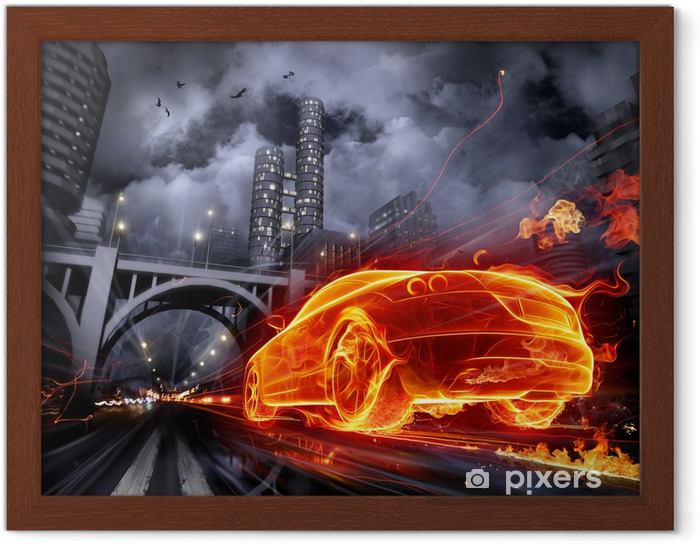 Gerahmtes Poster Fire car -