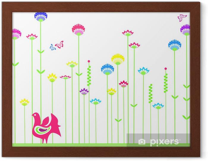 Plakat W Ramie Folk Tle Kwiatów