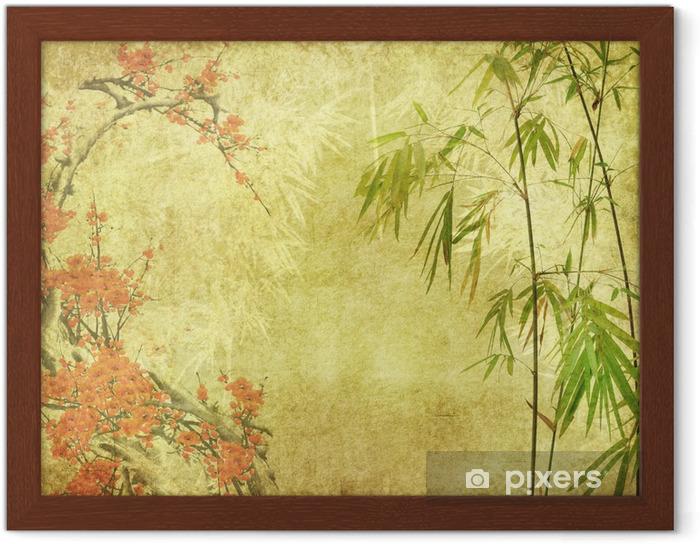 Póster Enmarcado Flor de bambú y ciruela en vieja textura de papel antiguo - Estilos