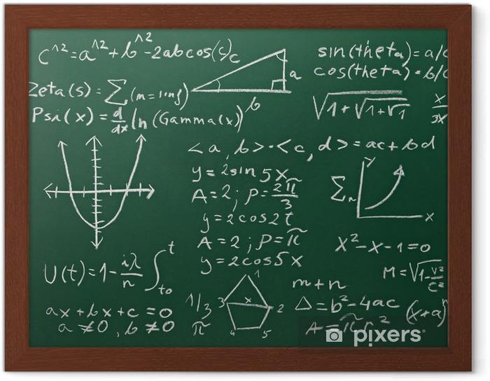 Plakat w ramie Formuł matematycznych na tablicy szkolnej edukacji - Styl życia