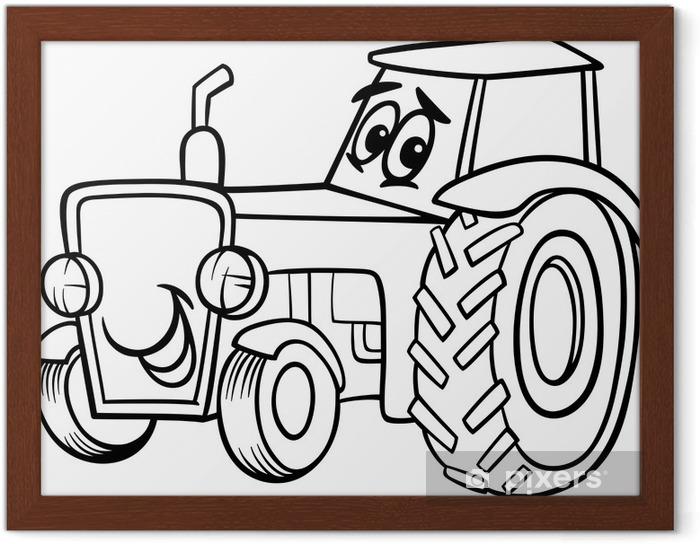 Gerahmtes Poster Traktor Cartoon Für Malbuch Pixers Wir Leben