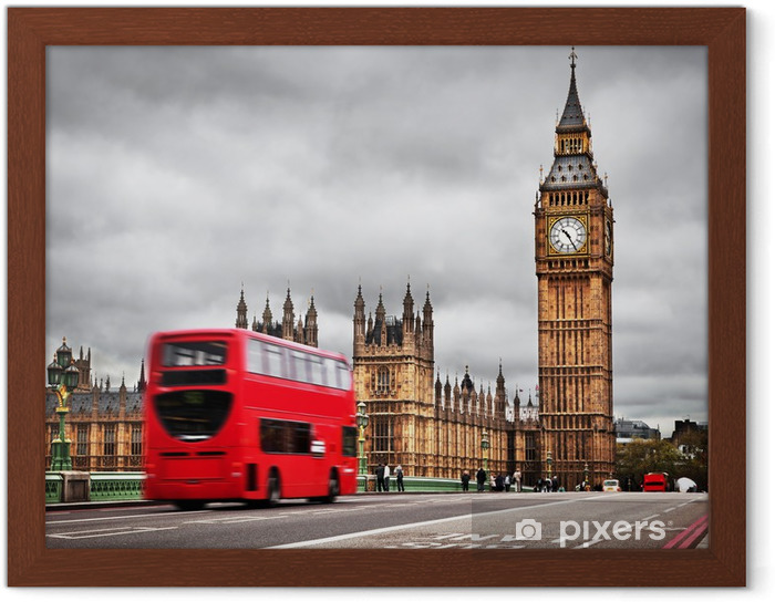 Ingelijste Poster Londen, het UK. Rode bus in beweging en de Big Ben - Thema's
