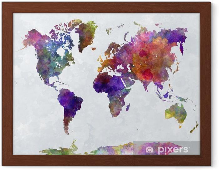 Plakat w ramie Mapa świata w watercolorpurple i niebieskie -