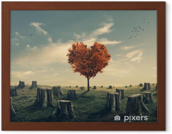 Plakat w ramie Serce w kształcie drzewa w lesie rozjaśniająca - Lasy