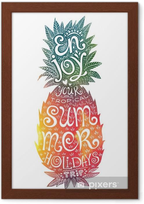 Plakat w ramie Jasne kolory rysowane ręcznie akwarela ananas sylwetka z grunge napis wewnątrz. Ciesz się wakacjami tropikalną podróż. - Jedzenie