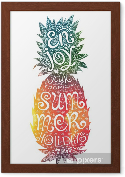 Poster en cadre Couleurs vives main aquarelle dessinée ananas silhouette grunge lettrage à l'intérieur. Profitez de votre tropical vacances d'été voyage. - Nourriture