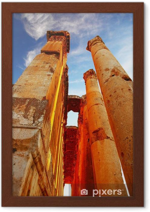 Çerçeveli Poster Mavi gökyüzü üzerinde Jüpiter'in tapınak, Baalbek, Lübnan - Yakın Doğu
