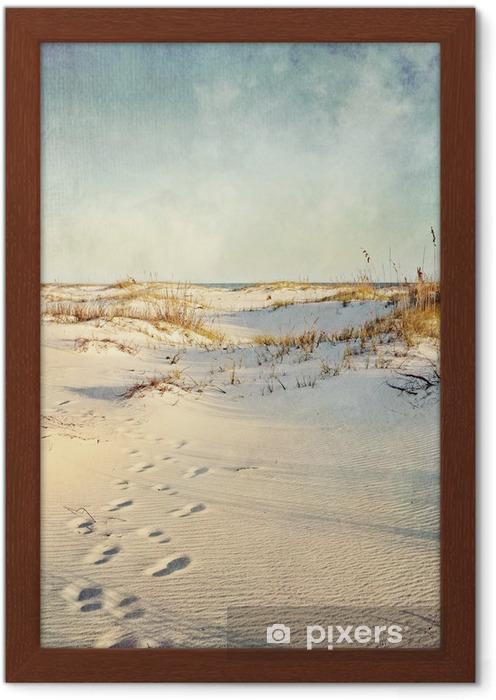 Poster en cadre Dunes de sable au coucher du soleil Image texturée - Vacances