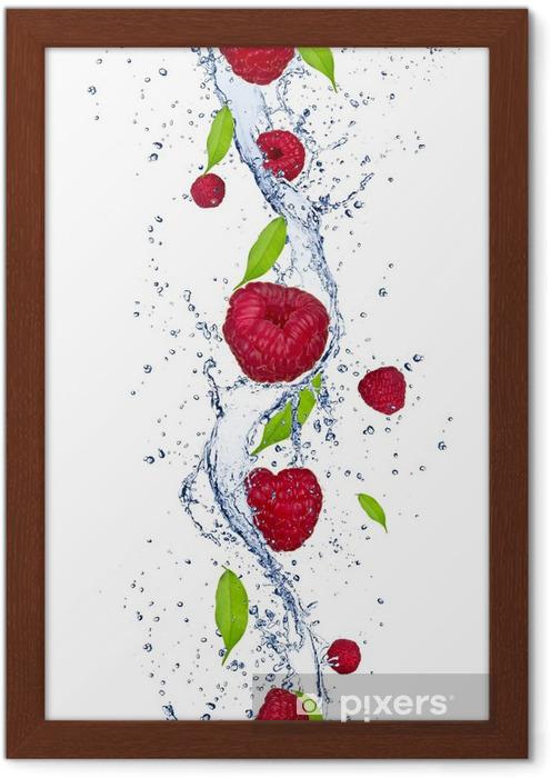 Póster Enmarcado Frambuesas frescas que caen en el chapoteo del agua - Frambuesas