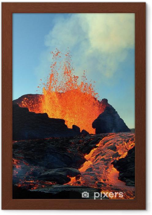 Póster com Moldura éruption volcanique - Desastres Naturais