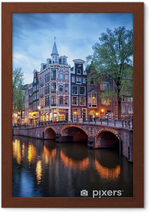 Póster Enmarcado Por la noche en Amsterdam - Temas