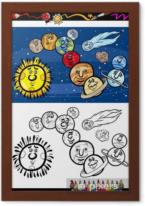 Gunes Sistemi Karikatur Boyama Kitabi Cerceveli Poster Pixers