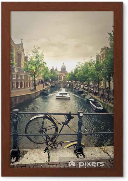 Plakat w ramie Rzeka w Amsterdamie - Rowery