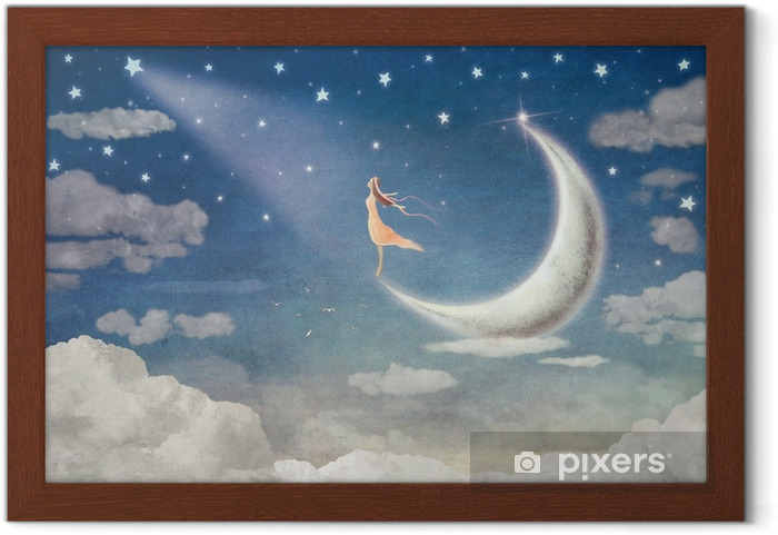 Póster Enmarcado Chica en la luna admira el cielo nocturno - ilustración de arte - Sensaciones y emociones