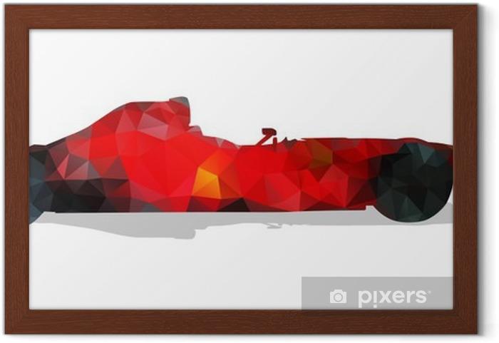 Póster com Moldura Carro de corrida de Fórmula. Ilustração geométrica abstrata vermelho vetor. - Desportos