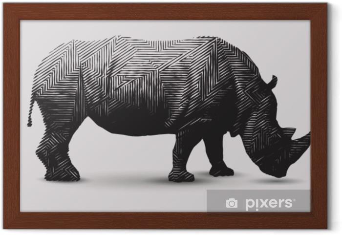 Poster en cadre Illustration de rhinocéros de vecteur. polygone en forme de dessin au trait. - Ressources graphiques