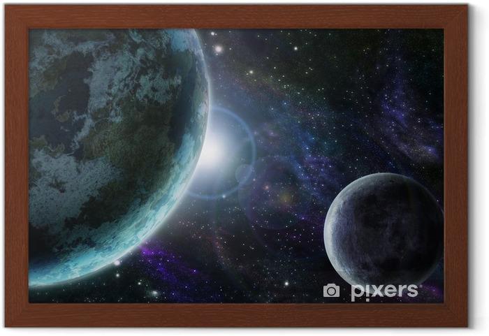 Poster en cadre Terre planète bleue dans l'espace extra-atmosphérique - Univers