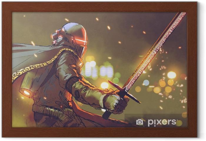 Poster en cadre Personnage de science-fiction de chevalier astro en armure futuriste tenant l'épée magique, style d'art numérique, illustration peinture - Personnes