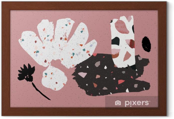 Plakat w ramie Lastryko, beton i ręcznie rysowane kolaż pędzla. streszczenie plakat lub karty. abstact art. Urodziny, rocznica, Dzień Walentyny, zaproszenia na przyjęcie, ślub, okładki. - Styl życia