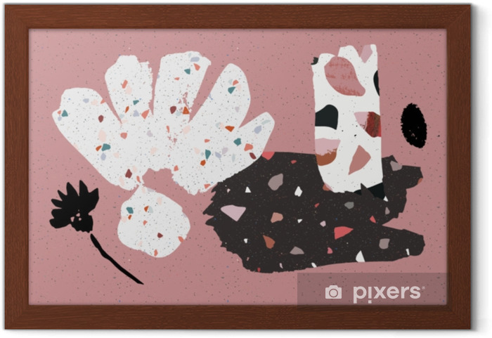 Póster Enmarcado Terrazo, hormigón y dibujado a mano collage de pinceles. cartel o tarjeta abstracta. arte abstracto. cumpleaños, aniversario, día de San Valentín, invitaciones a fiestas, bodas, portadas. - Estilo de vida