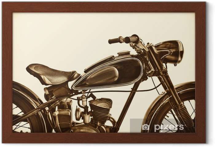 Innrammet plakat Sepia tonet bilde av en vintage motorsykkel - Transport