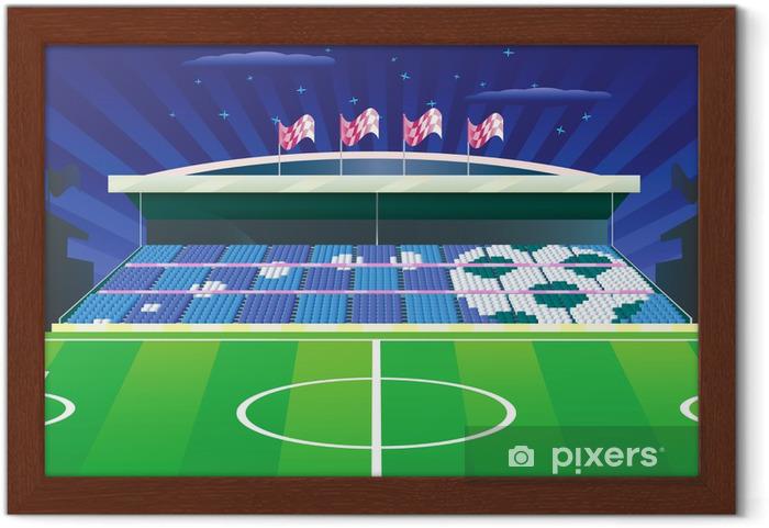 Gerahmtes Poster Fussballstadion Und Detaillierte Tribune Mit Zeichnung Vector