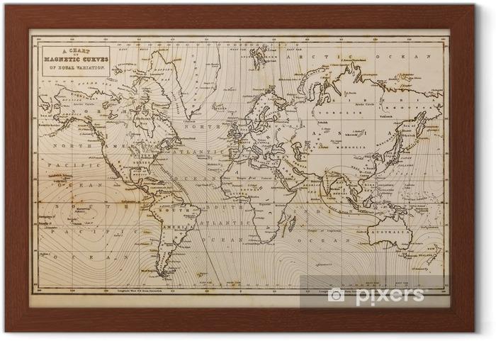 Çerçeveli Poster Eski el eski dünya haritası çizilmiş -