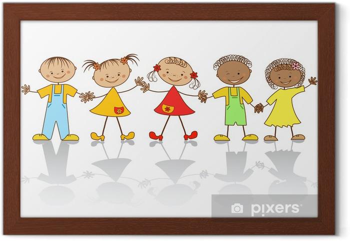 Póster Enmarcado Grupo de niños felices - Niños