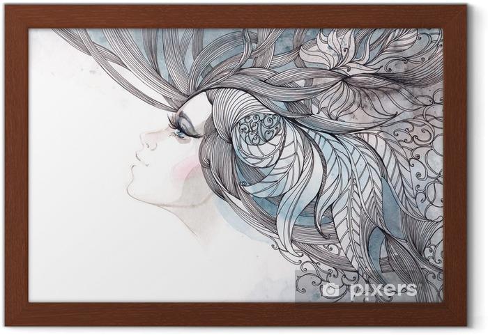 Poster en cadre Ses cheveux orné de feuillages - Mode