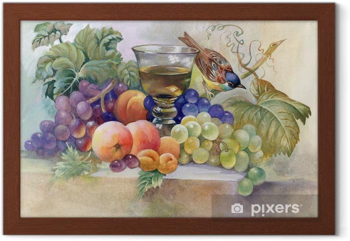 Plakat w ramie Martwa natura z kieliszkiem wina - Sztuka i twórczość