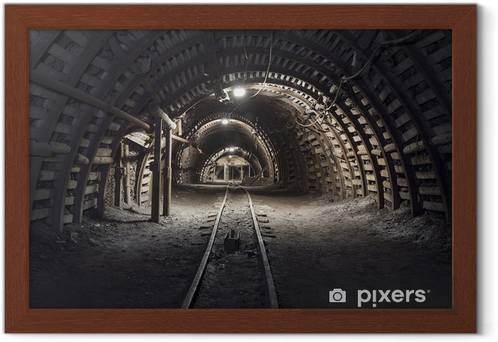 Plakat w ramie Podziemny tunel w kopalni węgla kamiennego - Tematy