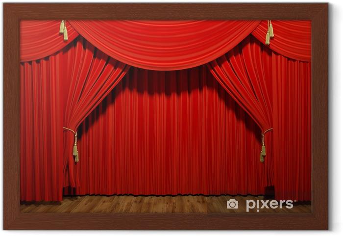 Ingelijste Poster Rood stadium theater fluwelen gordijnen - iStaging