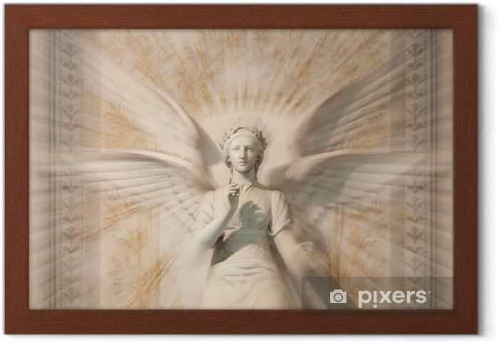 Ingelijste Poster Standbeeld van de vrouw engel. - Thema's
