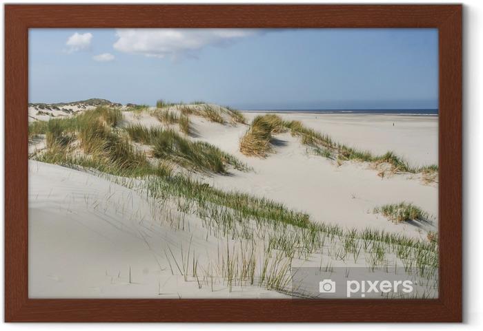 Çerçeveli Poster Hollanda kıyısındaki kum tepeleri -