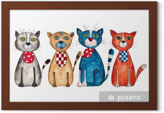 Poster en cadre Cats. Aquarelle sur papier - Destin