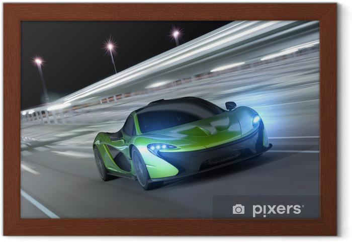 Plakat w ramie Samochód wyścigowy w nocy -