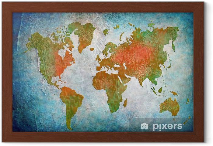 Plakat w ramie Vintage, mapa świata z niebieskim tle - Do restauracji