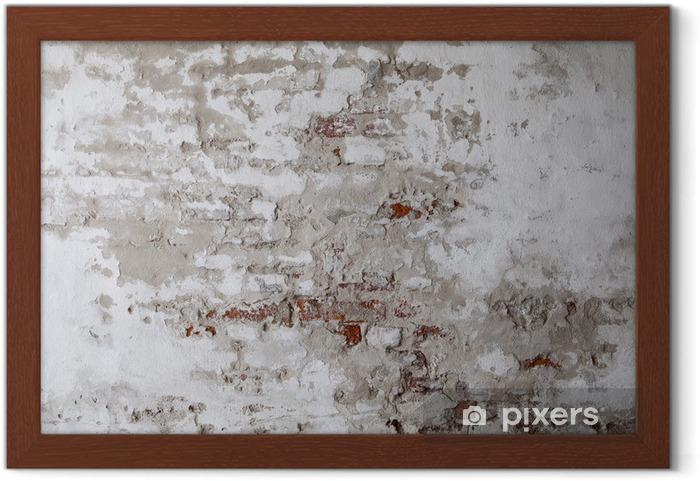 Póster Enmarcado Pared de ladrillo roja vieja con el hormigón agrietado - Temas