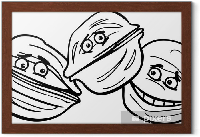 Ceviz Karikatür Boyama çerçeveli Poster Pixers Haydi Dünyanızı